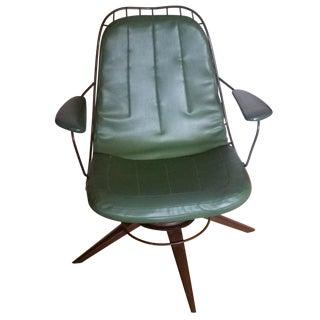 Vintage Olive Green Homecrest Wire Swivel Chair