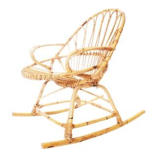 Franco Albini Mid Century Modern Bamboo Rocking Chair