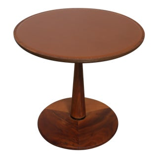 Walnut and Leather Side Table by Kipp Stewart