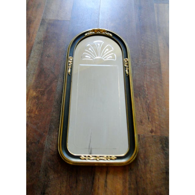 Image of Vintage 1920's Etched Mirror With Gold Black Frame