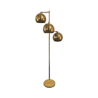 Koch Lowy Orb Mid-Century Brass Floor Lamp