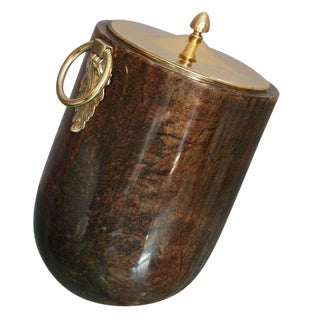 Aldo Tura Goatskin and Brass Tilted Ice Bucket