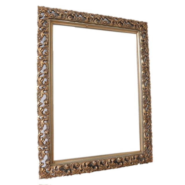 Image of French Gold Filigree Carved Mirror