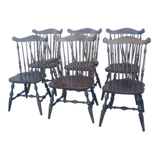 Early American Temple Stuart Windsor Chairs - Set of 6