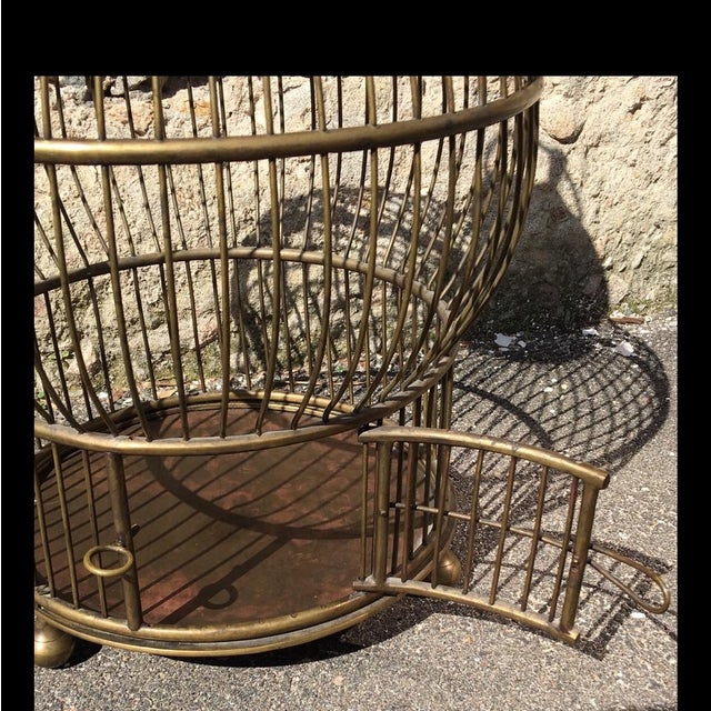 1940's Large Brass Bird Cage - Image 4 of 5