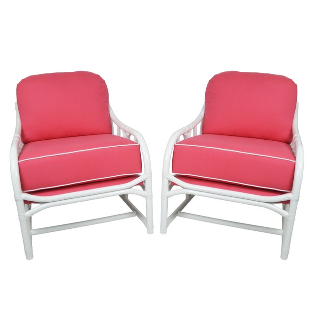Ficks Reed Lilly White & Pink Chairs - a Pair - Image 1 of 7