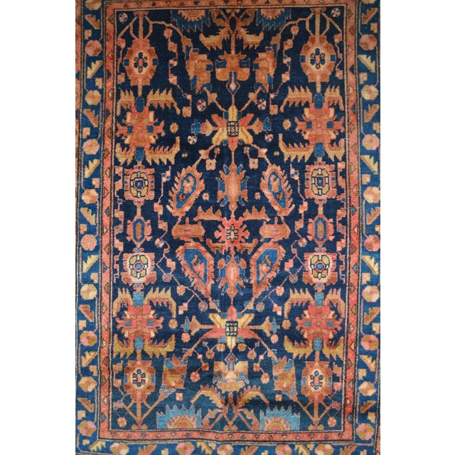 "Navy & Peach Antique Persian Rug - 4'4"" x 6'8"" - Image 3 of 6"