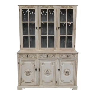 Hand Painted Oak China Cabinet