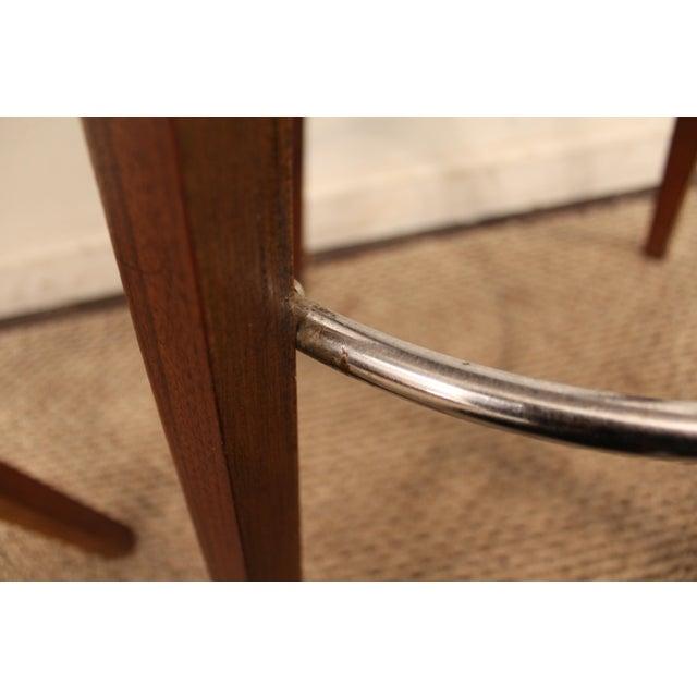 Image of Mid-Century Chrome & Walnut Swivel Bar Stools - A Pair