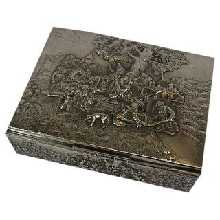 1930s Silver Plated Historism Cigar Humidor Box