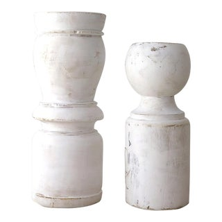 Distressed Painted Wood Candle Holders - A Pair