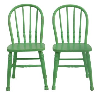 Antique Green Children's Windsor Chairs - A Pair