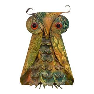 A Brutalist Metal Owl Table Sculpture