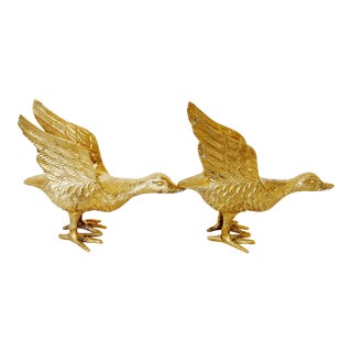 Hollywood Regency Style Brass Geese - A Pair