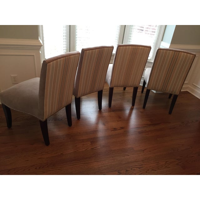 Lee Industries Upholstered Dining Chairs With Accent Fabric on Back - Set of 4 - Image 12 of 12