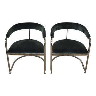 Vintage Chrome & Green Suede Chairs - a Pair