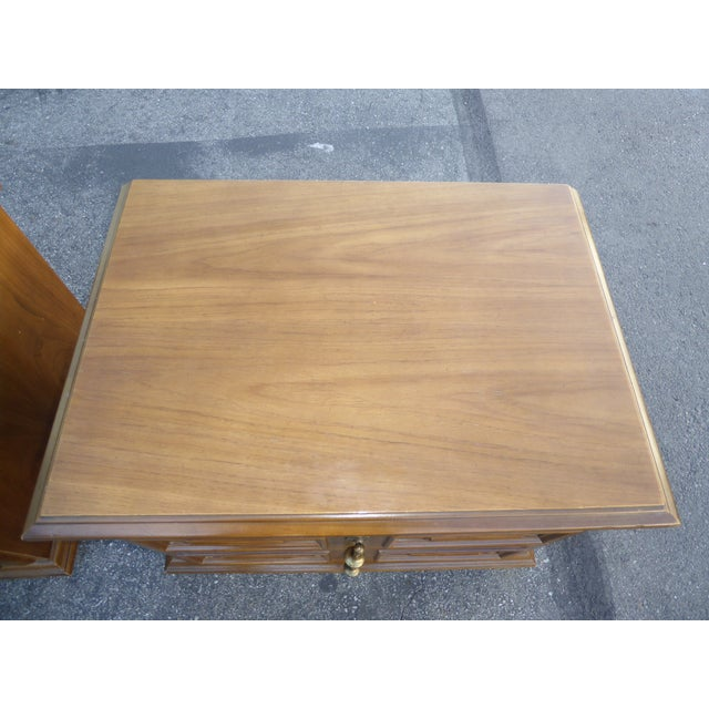 Mid Century Modern Drexel Two Drawer Solid Wood Nightstands - a Pair - Image 10 of 11