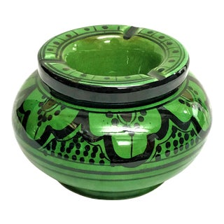 Moroccan Green Hand Painted Ceramic Ashytray
