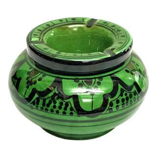 Moroccan Green Hand Painted Ceramic Ashytray