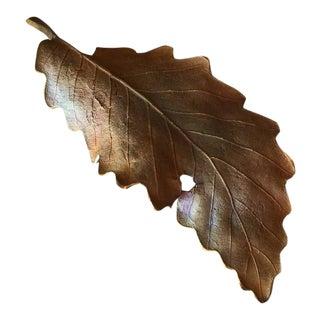 John Iversen Patinated Bronze Leaf Brooch