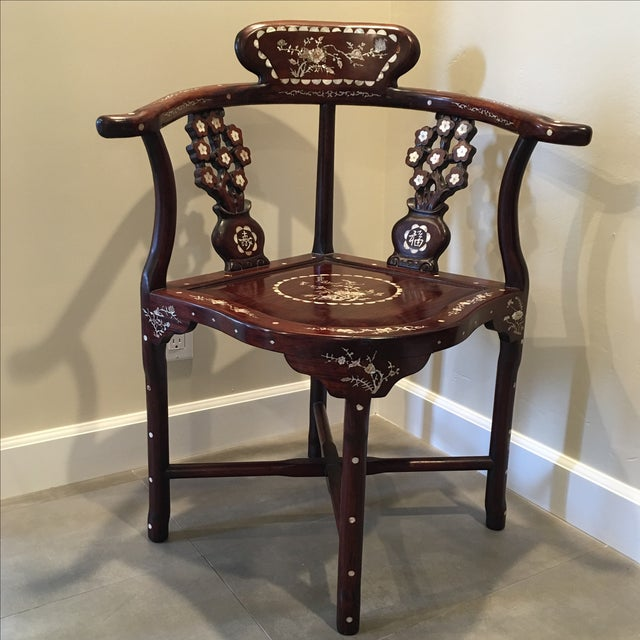 Chinese Mother Of Pearl Inlaid Corner Chair Chairish