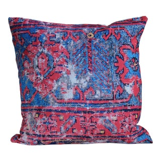Red Distressed Turkish Rug Print Pillow