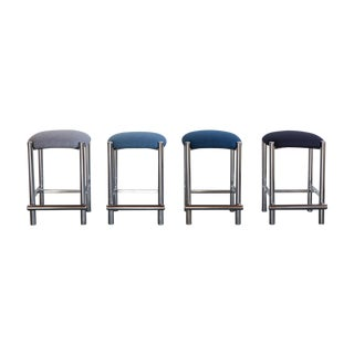 Mod Chrome Upholstered Barstools - Set of 4