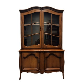 DAVIS CABINET Co Fleming Walnut French Provincial China Display Cabinet