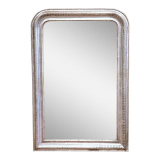 19th Century French Louis Philippe Silver Leaf Wall Mirror With Two-Tone Motif