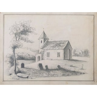 19th C. French Drawing of a Church