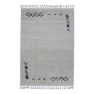 Fluffy Plush Kilim Pattern Rug Ivory - 5'3'' X 8'4''