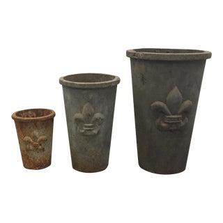 Concrete Fleur De Lis Outdoor Pots - Set of 3