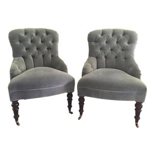 Mitchell Gold + Bob Williams Gloria Velvet Tufted Accent Chairs - a Pair