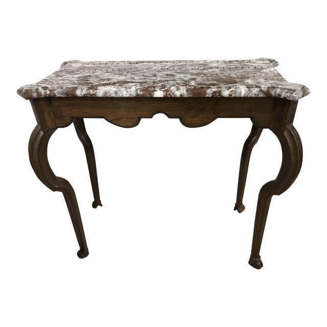 Portuguese Oak Marble Top Console Table - Image 1 of 6