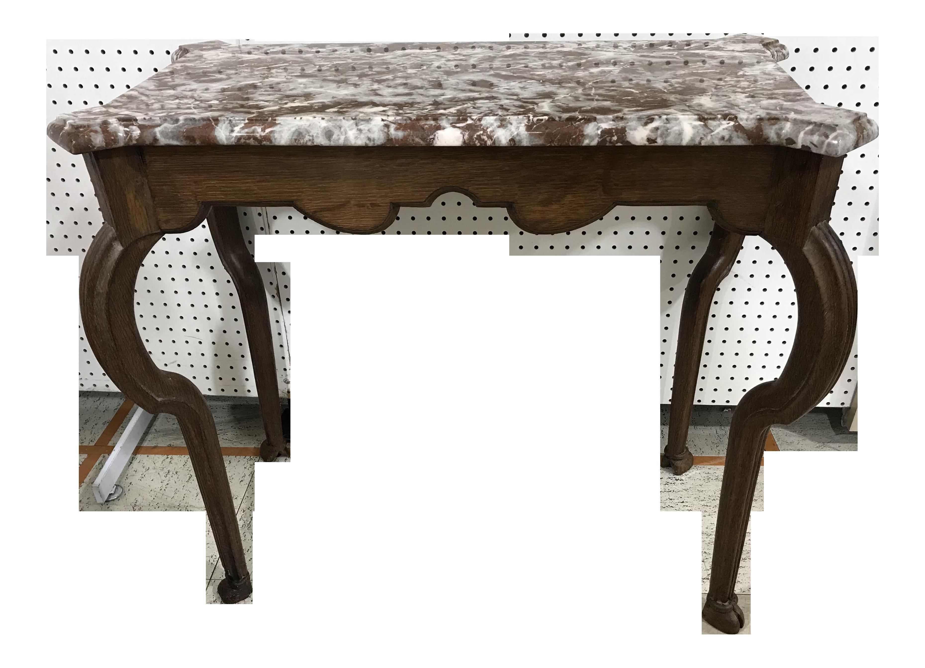 Portuguese Oak Marble Top Console Table