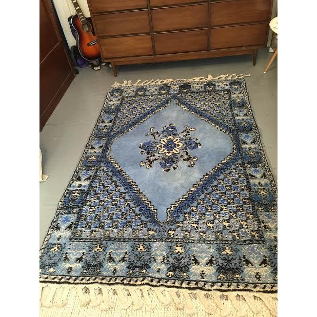 Large Blue Moroccan Rug - 4' x 6' - Image 2 of 9