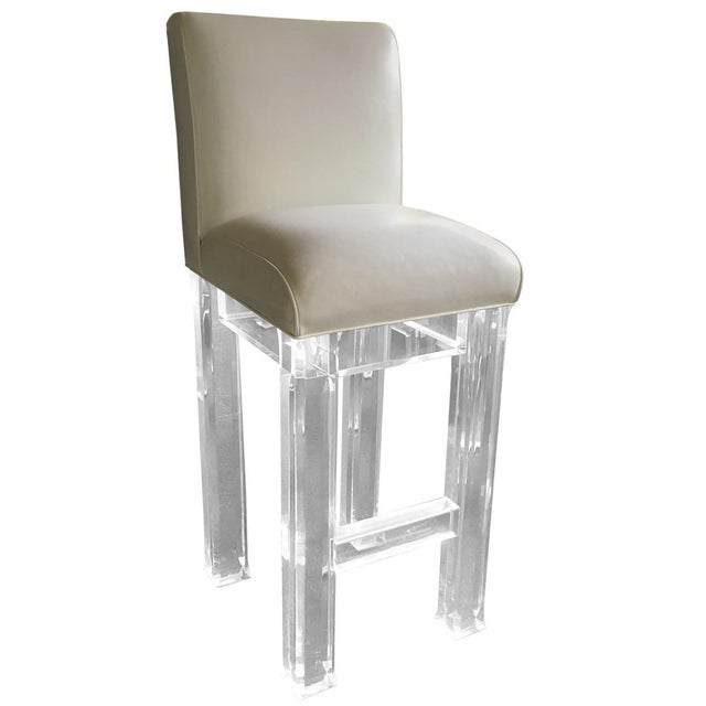 Lucite & Leather Bar Stools - Set of 4 - Image 4 of 4