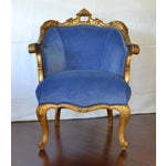 Image of Antique French Gilded Louis XV Upholstered Cabriole Chair