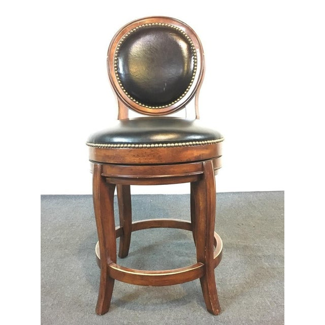 Mahogany & Black Leather Swivel Bar Stools - A Pair - Image 4 of 11