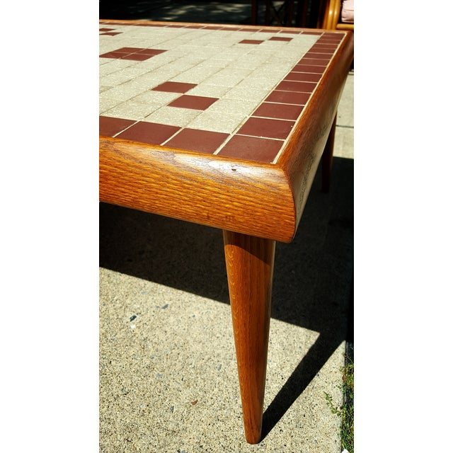 Mid-Century Modern Tile Top Corner Table - Image 3 of 5