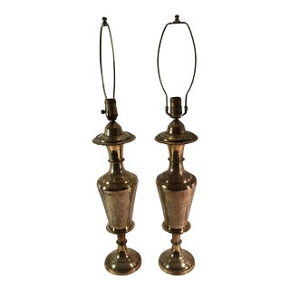 Vintage Brass Engraved Table Lamps - A Pair