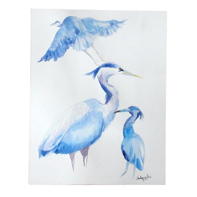 """""""Blue Herons"""" Original Watercolor Painting - Image 1 of 3"""