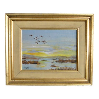Vintage Geese Birds at Sunrise Oil Painting