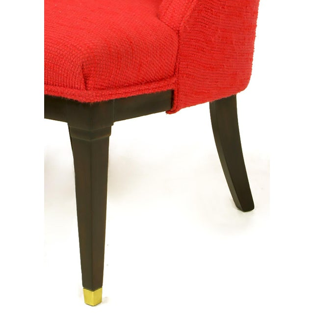 Pair of Button Tufted Red Wool and Dark Walnut Pull Up Wing Chairs - Image 10 of 10