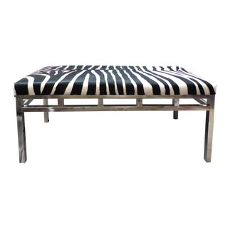 Zebra Hide Covered Mid-Century Bench