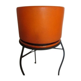 Orange Gainey Ceramic Saucer Pot