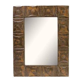 Brown Snowflake Pattern Tin Panel Mirror