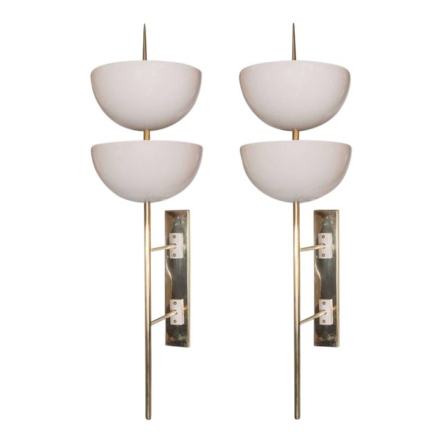 Pair of Monumental Reverse-Dome Trophy Sconces in White Enamel and Brass - Image 1 of 10