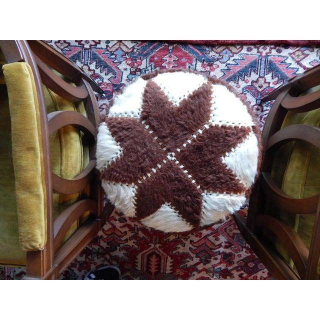 Hand-Sewn Animal Hide Ottoman Pouf - Image 3 of 4