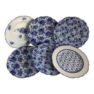 Harry & David Blue and White Rose Dishes - Set of Six